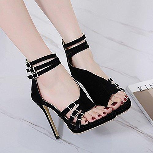 Hauts Sandales Black Ligne Stiletto Super Ouverte Multi Toe Femmes Nouvelle Talons Talons Été Boucle Parti LINYI qH6x1x