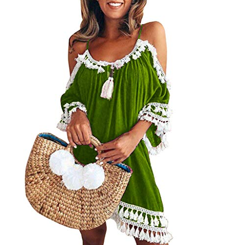 (Sumeimiya Women Off Shoulder Dress,Ladies Halter Beach Dresses Tassel Short Cocktail Party Sundress)