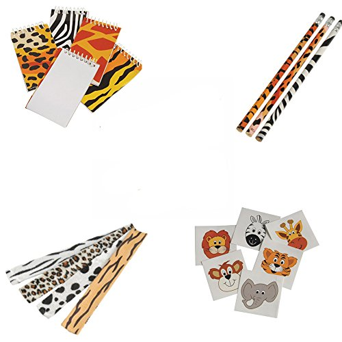 Safari Wild Animal Toy Party Favor Supplies 180 Piece Set for 12 Bundle -