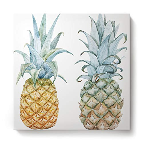 GreaBen Modern Canvas Wall Art Square Oil Painting Home Decor for Office Hotel,Hand Painting Pineapple Fruit Pattern Canvas Artworks,Stretched by Wooden Frame,Ready to Hang,28 x 28 Inch