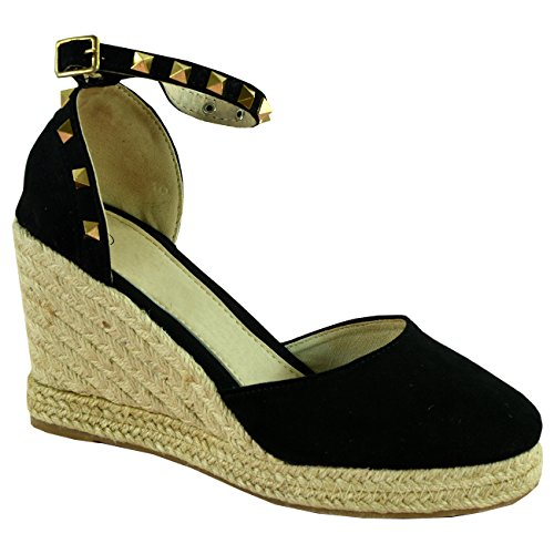 Ladies Womens Espadrille Wedge Platforms High Heel Pumps Ankle Rock Studs Shoes Black UhjUT7UN