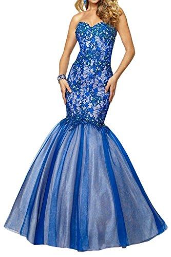Neu 2018 Ballkleider Blau Abendkleider Meerjungfrau Lang Damen Blau Festlichkleider Royal Promkleider Charmant q1w8zw