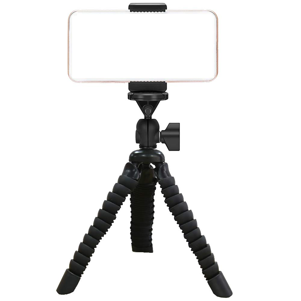 Ailun Phone Tripod Mount Stand,Small Light Universal for iPhone 11/11 Pro/11 Pro Max/X Xs XR Xs Max 8 7 Plus 6 6s Galaxy S10 Plus S7 S6 Note 10 5 4 More Camera Cellphone Black