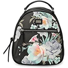 DAVIDJONES Women's Small Synthetic Leather Flowers Print Shoulder Backpack Purse