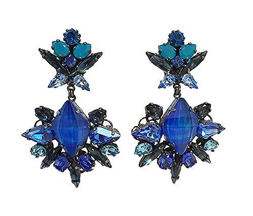 VICKISARGE Boucles d'Oreilles Argent Oxydé Cristal Bleu Femme
