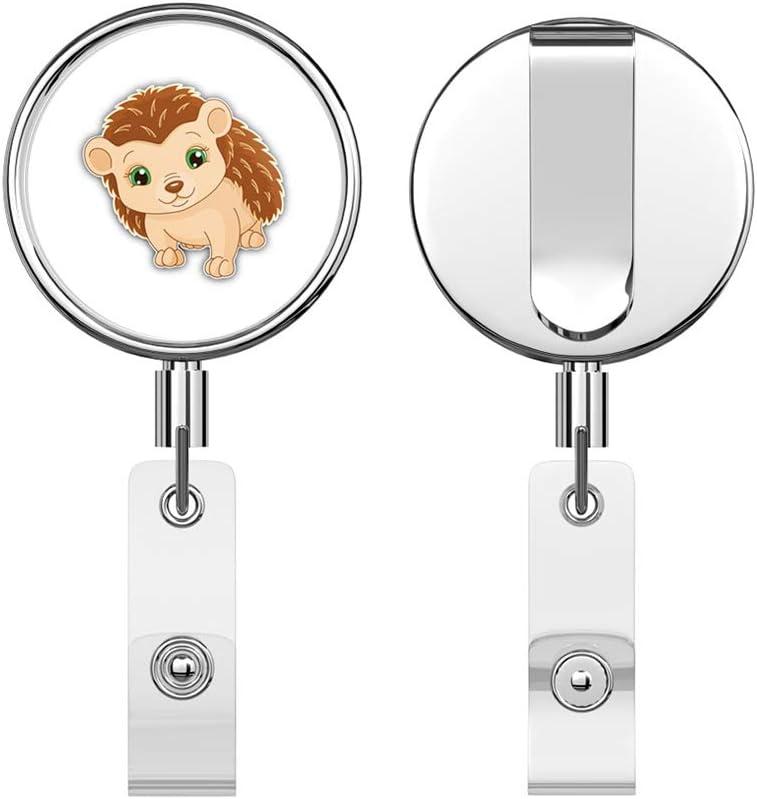 Funny Hedgehog Baby Cartoon Retractable Reel Chrome Metal Badge ID Card Holder Clip