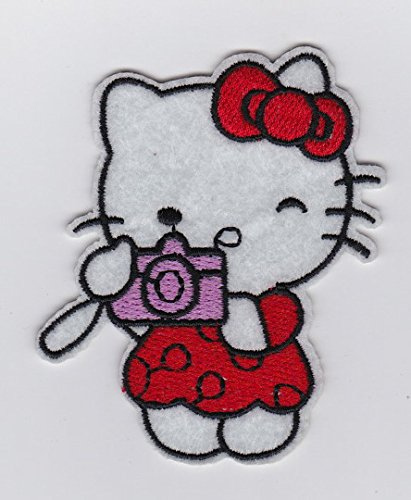 SANRIO RED HELLO KITTY with Camera Taking Picture- Iron on Patches/Sew On/Applique/Embroidered - Hello Kitty Applique