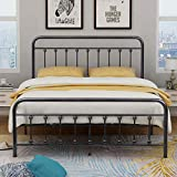 Bed Frame Queen Metal Platform Bed Frame Steel Headboard Footboard Mattress Foundation Bed Base Black-Silver Iron Heavy Duty Slats Support Box Spring Replacement Victorian Vintage Style