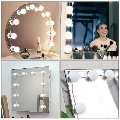 makeup mirror lights kazoku hollywood style led vanity mirror lights 10 led bulbs kit with. Black Bedroom Furniture Sets. Home Design Ideas