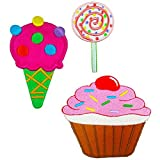 big minnie mouse iron on patches - Cute Ice Cream Cone, Lollipop, Cup Cake Candy Set of 3 Iron on Embroidered Patches Super Saving Pack