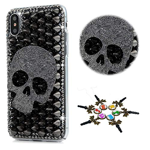 Black Skull Crystal Case (STENES iPhone XS Max Case - Stylish - 100+ Bling Crystal - 3D Bling Handmade Rrivet Skull Design Cover for iPhone XS Max 6.5 inch - Black)