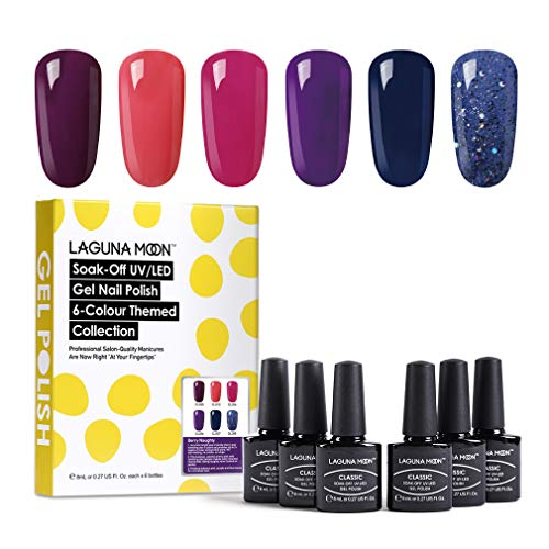 Lagunamoon Gel Nail Polish 6 Colors Gel Polish Soak Off Gel Nail Art Manicure Varnish Set with Gift Box 8ML Each Require Cure Under LED UV Nail Dryer Lamp -Berry Naughty