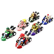 Super Mario Bros Karts Figures Toys - 6 Pcs Set Pull Back Racer Cars 5cm