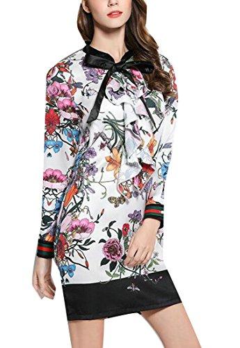 Bianca Lunga Dell'arco Floreale Stampa Maglietta Donna Abiti Mini Cravatta Casuale Manica La Jaycargogo Da IvSnOawqYY