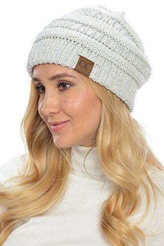 Yourstyle USA Trendy Warm Chunky Soft Stretch Cable Knit Slouchy Beanie (One Size, Ivory/Metallic - Ivory Usa