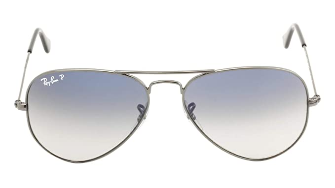 e958a8debfc Amazon.com  Ray-Ban RB3025 Aviator Gradient Polarized Unisex Sunglasses  (Gunmetal Frame   Polarized Blue Gradient Gray Lens 004 78