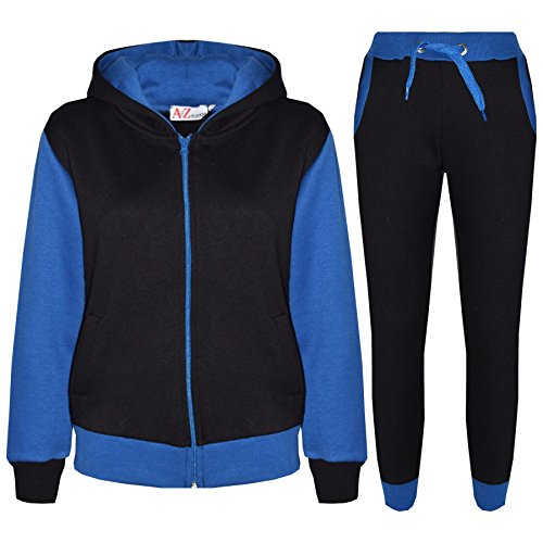 Kids Tracksuit Girls Boys Fleece Hooded Hoodie Bottom Jogging Suit Jogger 7-13Yr Royal Blue