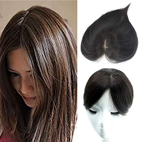 AISI BEAUTY Human Hair Crown Toppers Clip Toupee Wiglet Hairpieces for Women with Thinning Hair Free Part Hand-made Silk Base at Middle&PU Round Clips in Top Cover