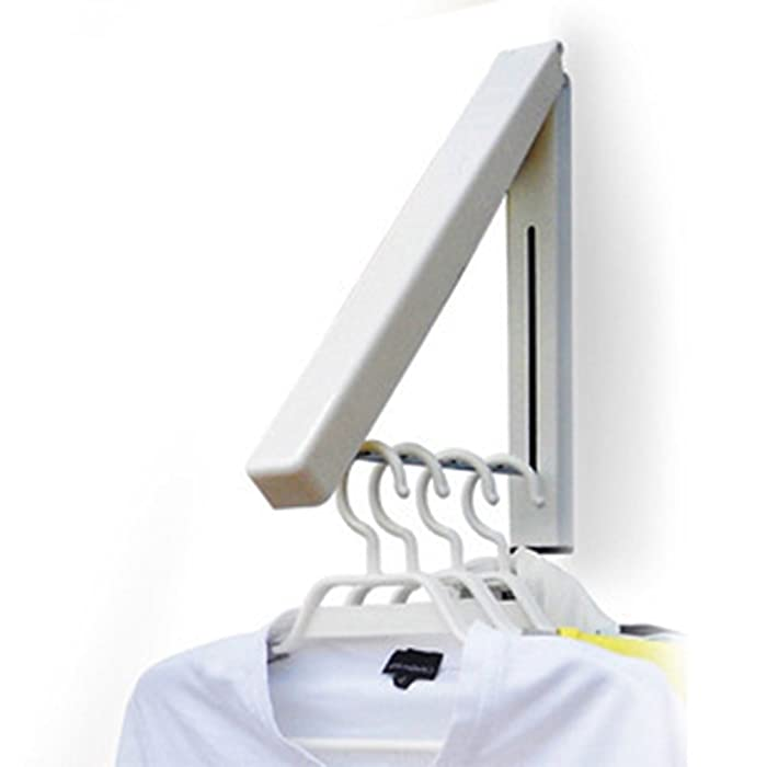 Zerich Mini Folding Clothes Hanger Wall Mounted Retractable Clothes Hanger -Drying Rack Great Space Saver for Laundry Room, Attic, Garage, Indoor & Outdoor Use, Aluminum, Easy Installation #29852