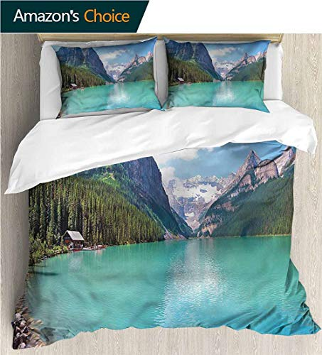 Modern Pattern Printed Duvet Cover,Box Stitched,Soft,Breathable,Hypoallergenic,Fade Resistant 100% Cotton Beding Linens For Kids Children-Landscape National Park Canada Lake (79