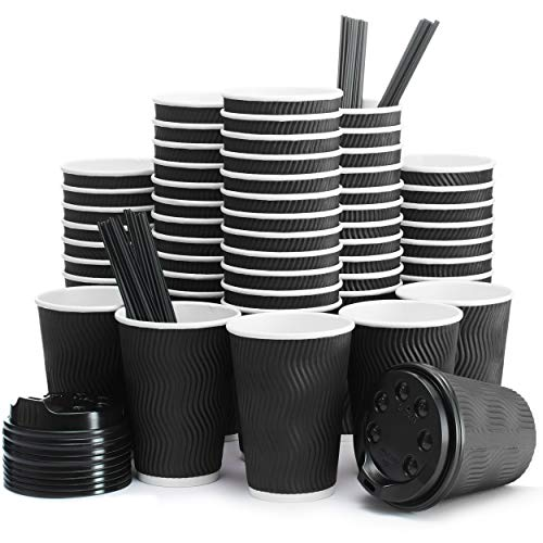 Insulated Disposable Coffee Cups with Lids & Straws 12 oz, 100 Packs - Paper Cups for Hot Beverage Drinks To Go Tea Coffee Home Office Car Coffee Shop Party - FDA Approved (black)