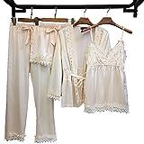 Pajamas for Women Silky Set 4 Pcs Silk Satins Lace Sleepwear, White, Size Medium