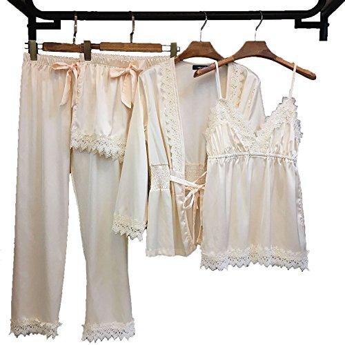 Pajamas for Women Silky Set 4 pcs Silk Satins Lace Sleepwear Thin Sexy Strap Dress Robe Shorts & Pants Home Wear (White)
