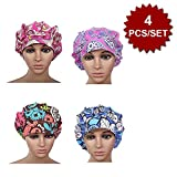 Opromo Cotton Bleach Friendly Banded Adjustable Scrub Cap Sweatband Bouffant Hat-Assorted 3