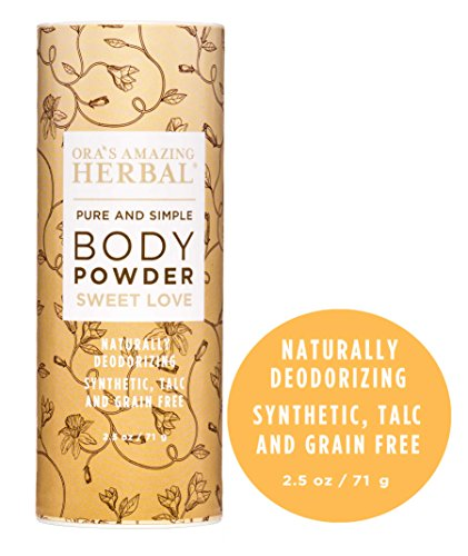 Natural Body Powder, Dusting Powder, No Talc, Corn, Grain or Gluten, Sweet Love Scent (Essential Oils Vanilla Amber Ylang Ylang and Frankincense), non GMO, Ora's Amazing Herbal (Sweet Love Scent) - Usa Body Powder