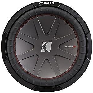 """KICKER - CompR 12"""" Dual-Voice-Coil 4-Ohm Subwoofer - Black"""