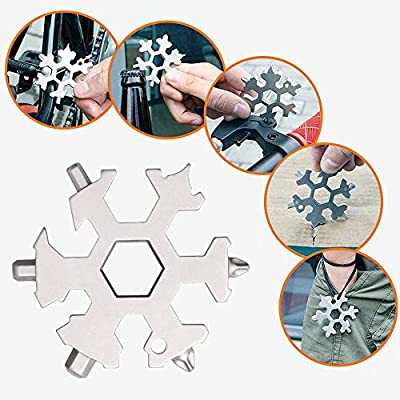 LIKEGOR 19-in-1 Snowflake Multi-tool Incredible Stainless Portable Multipurpose Screwdriver and Wrench with Key Ring Perfect for Outdoor Adventure Travel Camping(Silver)