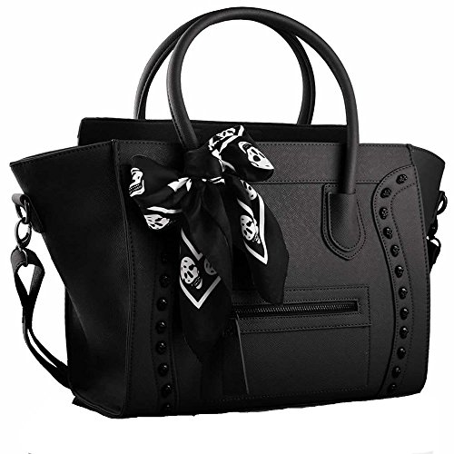 Black Purse (Womens Fashion Tote Shoulder Bags Ladies Large Designer Faux Leather New Handbag (Large, A - Black))