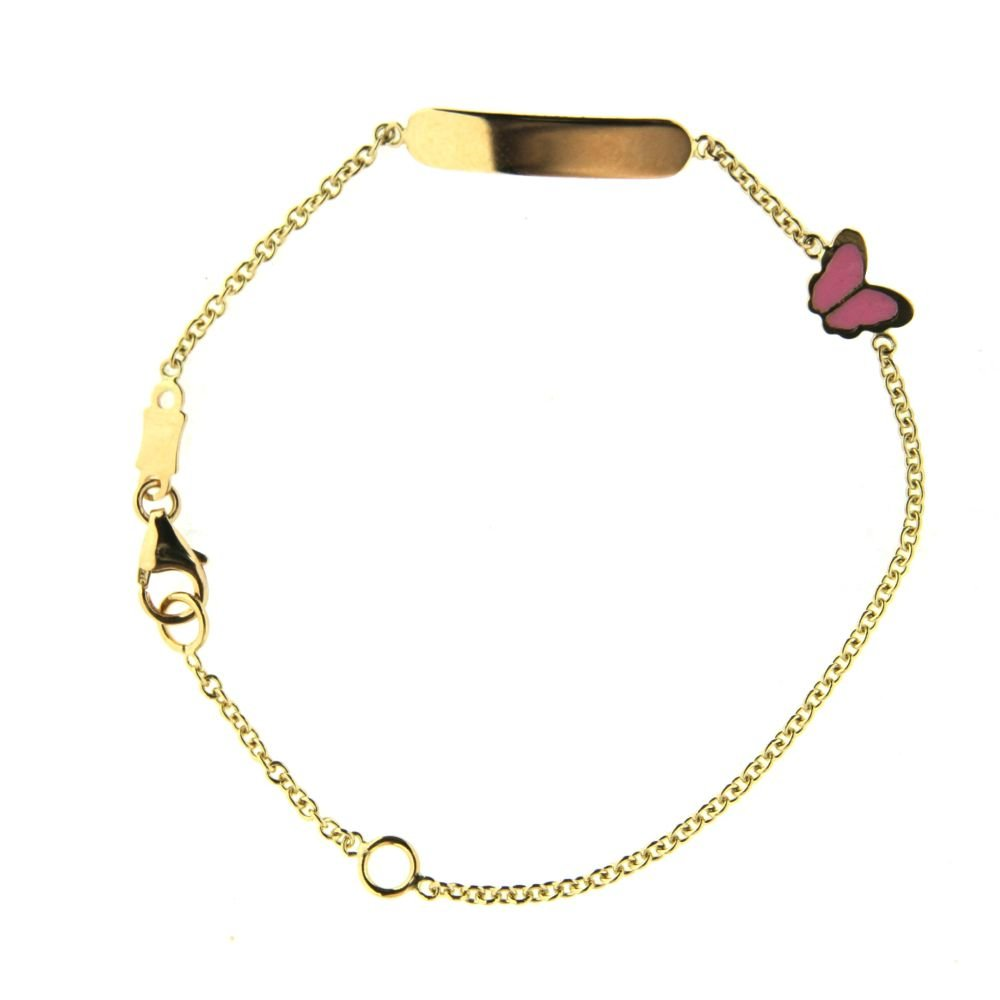 18k yellow gold Pink enamel butterfly ID bracelet 5.5 inch with extra ring at 4.8 inch