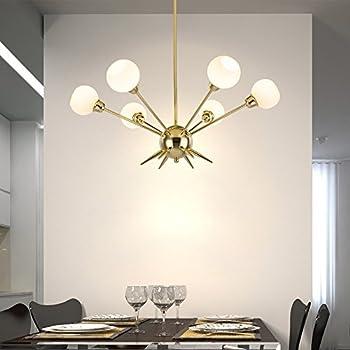 Sputnik Chandelier - Housen Solutions 6 Lights Modern Pendant Lighting Golden Ceiling Light Fixture UL & Sputnik Chandelier - Housen Solutions 6 Lights Modern Pendant ... azcodes.com