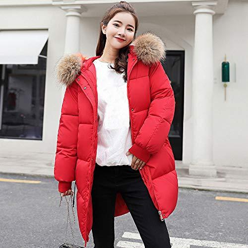 Rosso Lungo Antivento Donna ❤ Invernale Sottile Cappotto Piumino Vovotrade Sintetica Ms Con Cappuccio Pelliccia In 6W4xqnWH