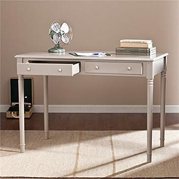 Janice 2 Drawer Writing Desk – Slim Profile Design – Gray Finish