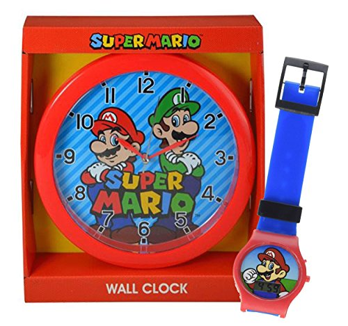- Super Mario Brothers Kids 10' Wall Clock Featuring Mario & Luigi! Plus Bonus Super Mario Digital Watch!