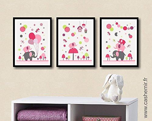 affiche chambre bb fille dcoration chambre bb dco chambre enfant illustration murale chambre bb lphant rose
