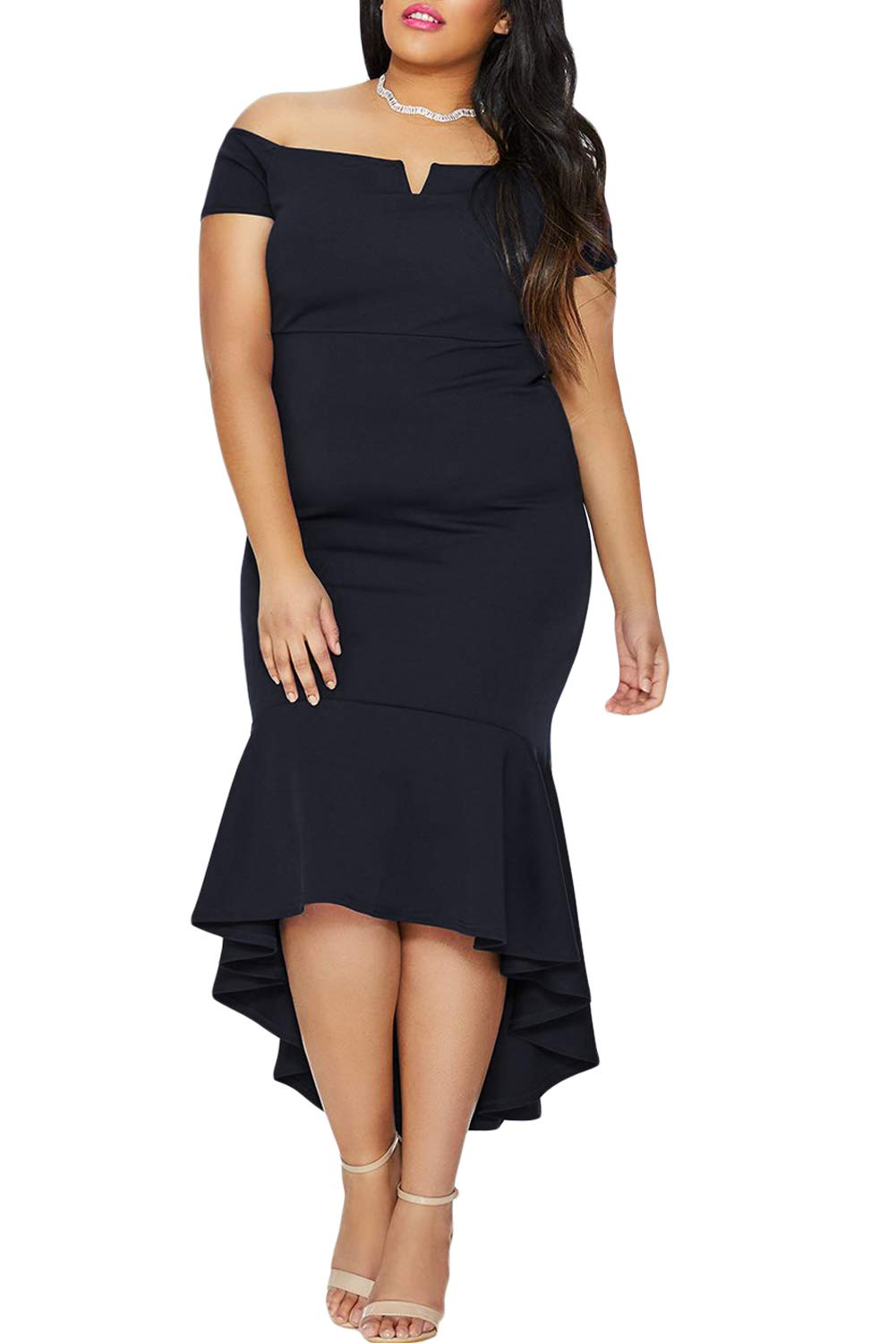 FUSENFENG Womens Plus Size Off Shoulder High Low Mermaid Evening Party Midi Dress (Navy, XXXL)