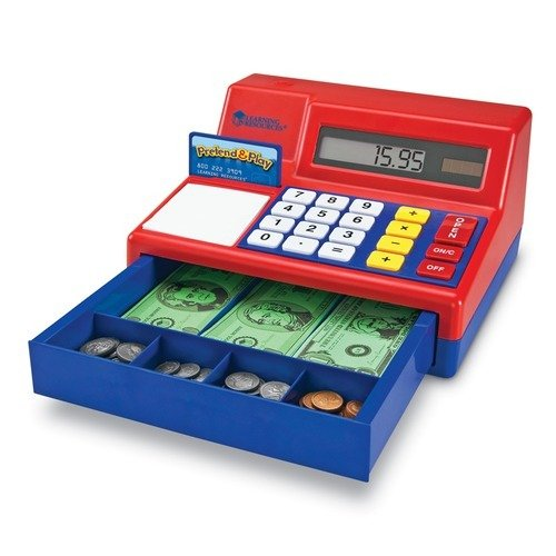 Learning Resources Pretend and Play Calculator Cash Register, Set of 73 $