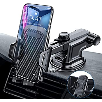 93a6ff59af6d36 VANMASS Car Phone Mount, Dashboard Windshield Air Vent Cell Phone Holder  for Car with Vent Clip & Dashboard Pad, Strong Sticky Suction, One Button  Release ...