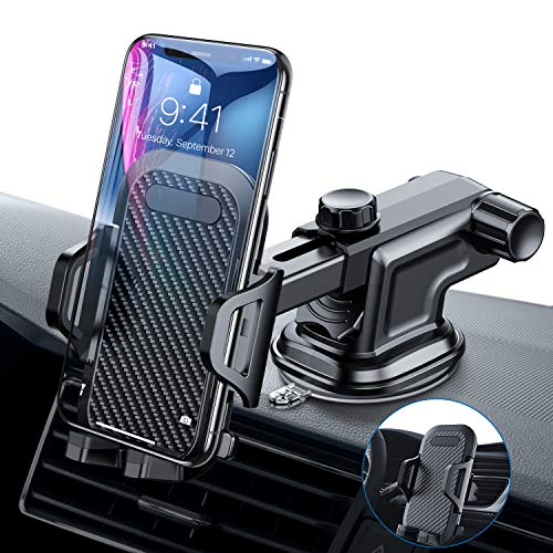 VANMASS Car Phone Mount, Dashboard Windshield Air Vent Cell Phone Holder for Car with Vent Clip & Dashboard Pad, Strong Sticky Suction, One Button Release Car Cradle, Compatible 3.5-6.5 Inches Phone