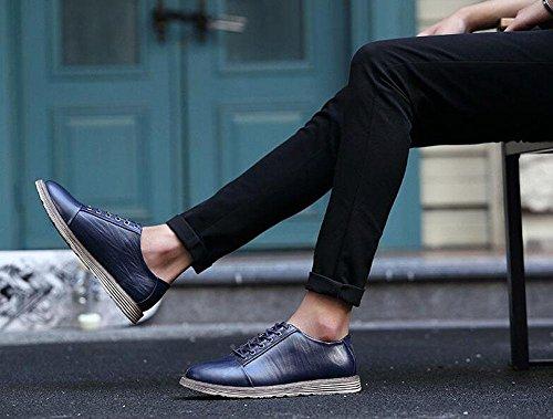 SHIXR Männer Sportschuhe tragen flachen Mund mit Klettern Schuhe rutschfeste Leder Schuhe , blue , 38
