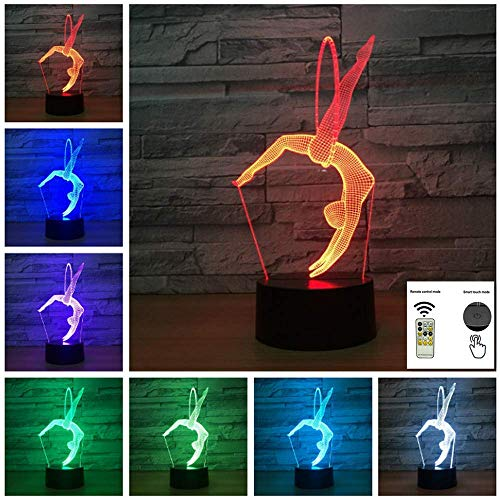 Aibote Gymnastics 3D LED Night Light Table Desk Illusion Lamp 7 Colors Change Lights Home Bedroom Decoration Boys Girls Gift