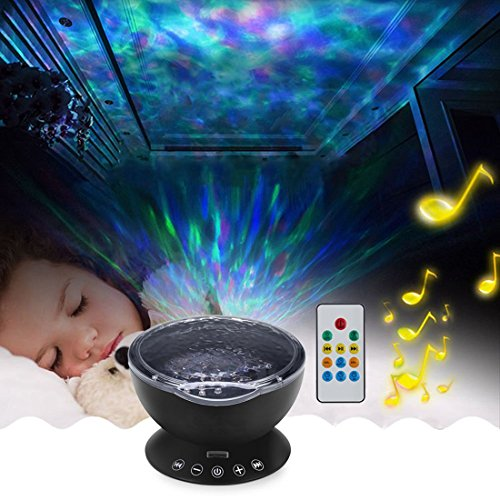 - Willcome Upgraded Generation Remote Control LED Projector Ocean Wave Projection Lamp with Built-in Music Speaker and 7 Different Colors for Kid Sleeping Relaxing Night Light (Black)