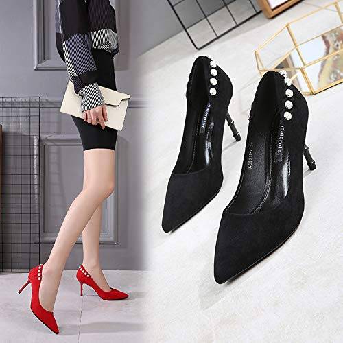 Shallow Pointed Water Mouth Shoes 8Cm Spring Drill Shoes Baggy Working Heels Black Thin SFSYDDY Shoes Suede High Black Single Fashion Heel 17nOP