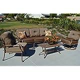 Vintage Elizabeth Outdoor Patio Set pc Seating Group Mocha Cast Aluminum Walnut Cushions