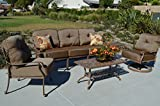 Cheap Elizabeth Outdoor Patio Set 5pc Seating Group Mocha Cast Aluminum, Walnut Cushions