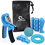 Hand Gripper Strengthener 5 PackAdjustable Hand Grip Resistance Finger Exerciser, Finger Stretcher,Hand Therapy Ball & Exercise Ring Hand Finger Wrist Forearm Therapy Exerciser by Benificer