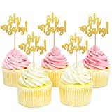 SAKOLLA Golden Oh Baby Cupcake Toppers,Glitter Cake Topper Picks for Baby Shower Party Decors,Baby's Birthday Cake Supplies (Set of 36)